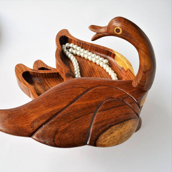 Swan sculpture 3 tier jewelry tray Bird statue Wooden duck