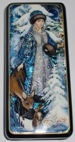 "Fedoskino Hand Painted Russian Lacquer Box ""Snow Maiden"" 