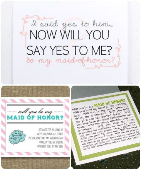 Will you be my bridesmaid?/Will you be my maid of honor? ..on itsabrideslife.com