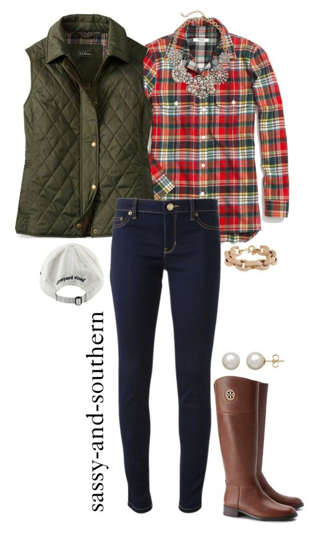 """""""fall outfit"""" by sassy-and-southern ❤ liked on Polyvore featuring Madewell, Michael Kors, Tory Burch, J.Crew, Vineyard Vines and Honora"""