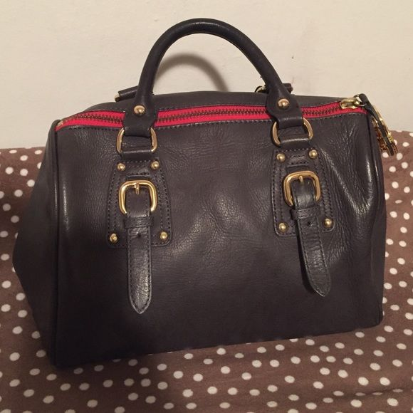 STEVEN Steve Madden handbag Blueish/Black Handbag with red zipper, gold hardware, zipper pocket inside, two pockets on other side, water stain on bottom of bag Steven by Steve Madden Bags Satchels