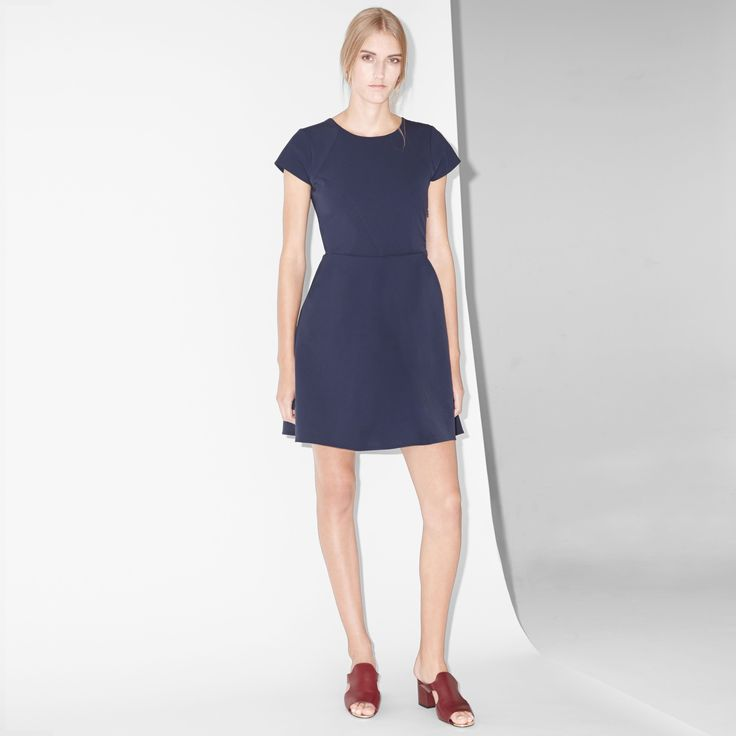 FWSS Electric Avenue is a feminine nylon mix dress with cut-out detail at back.  #feminine #dress #blue #fwss