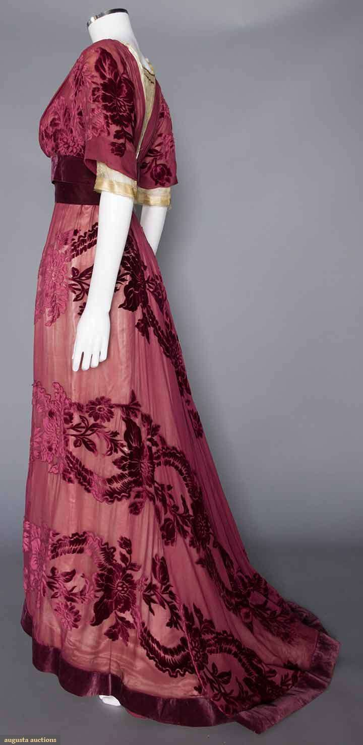 Gown (image 3) | House of Worth | France; Paris | 1908 | cut velvet, chiffon | Augusta Auctions | November 16, 2016