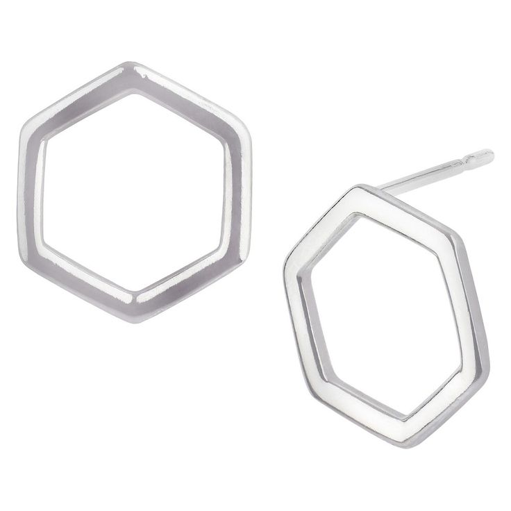 Women's Button Post Earring Silver Plated Brass Rhodium Open Hexagon - Silver