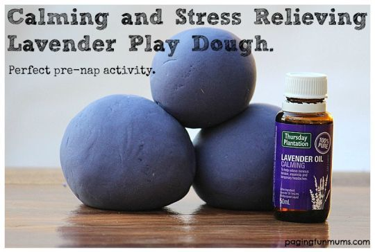 Calming and Stress Relieving Lavender Play Dough. Perfect pre-nap activity. Just as good for parents too!