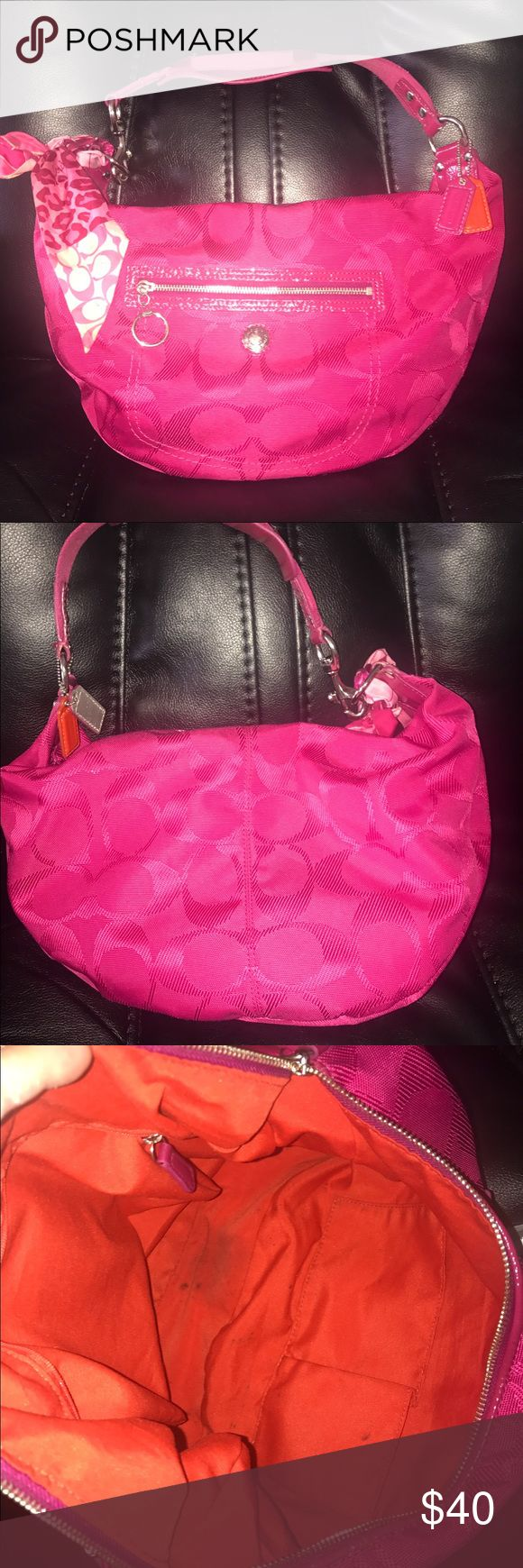 Authentic Coach hobo bag GUC. Has few Minimal frays  minor soiling inside and out. Approx 12 x 8 inches. Comes with ponytail scarf Coach Bags Hobos