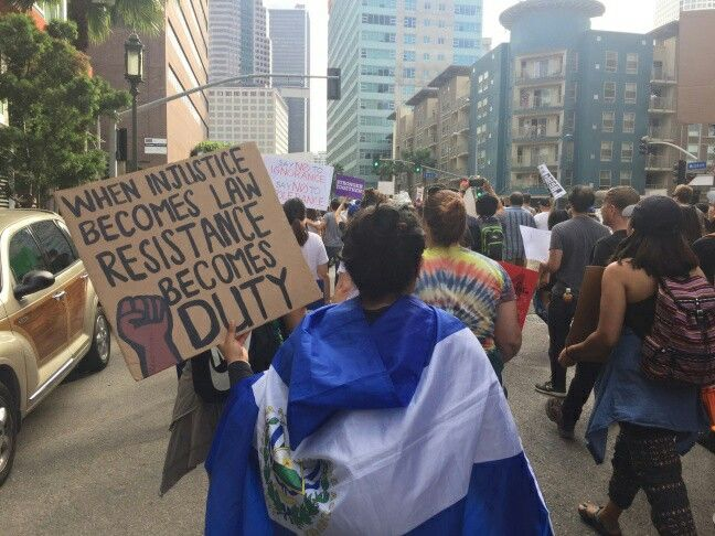 Scene from 11/12/16 anti-Trump protests in L.A. Estimated 11,000 people were protesting against the president elect. (Photo by Libby Denkmann and Eric Zassenhaus for KPCC)