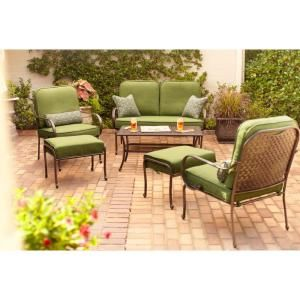 Hampton Bay Fall River 4 Piece Patio Seating Set With Moss Cushions DY11034