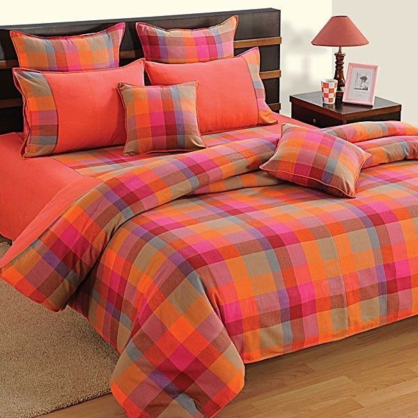 #SWAYAM FRUITY CHECK BED SHEET- #LINEAGOLD(D.NO.7804)