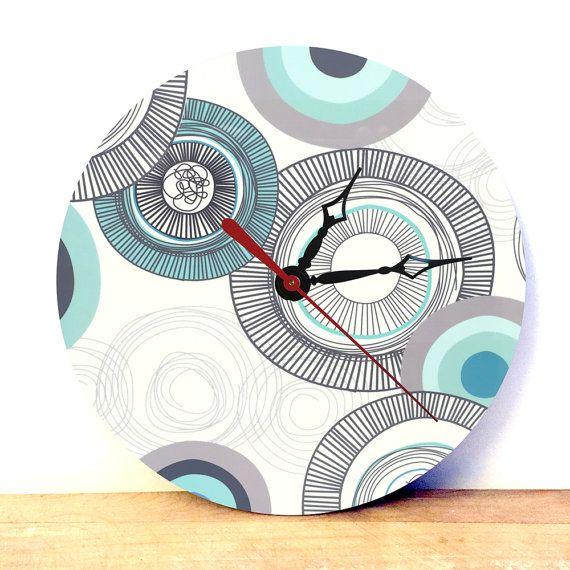 Wallpaper Pattern Clock - Analog Clock - Wall Clock - Retro Wall Clock - Unique…