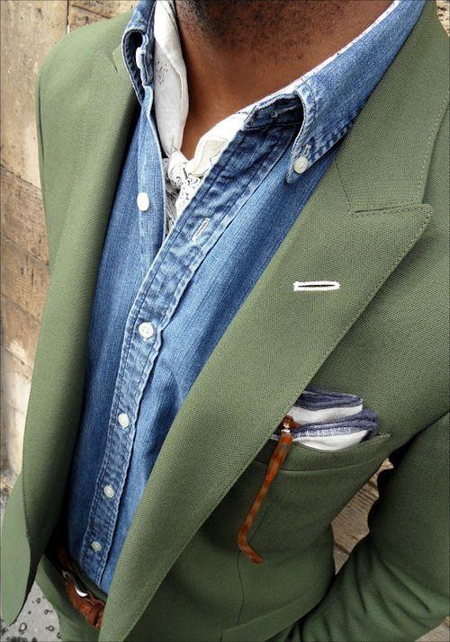 Pale olive suit, denim shirt and white neckerchief. / Love this palette.