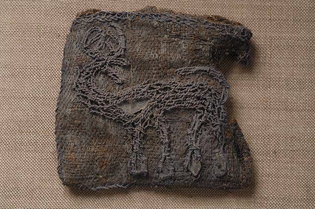 Viking Age embroidery from Birka showing a stag (Historiska Museet, Sweden)