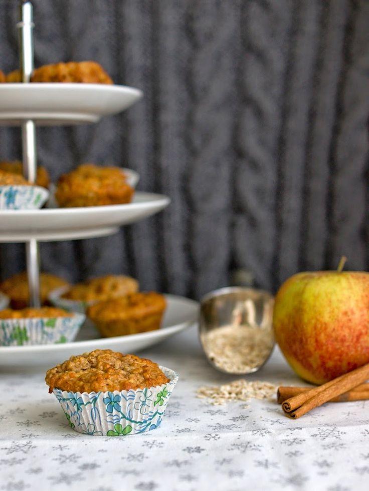 Muffiny s ovesnými vločkami a jablky