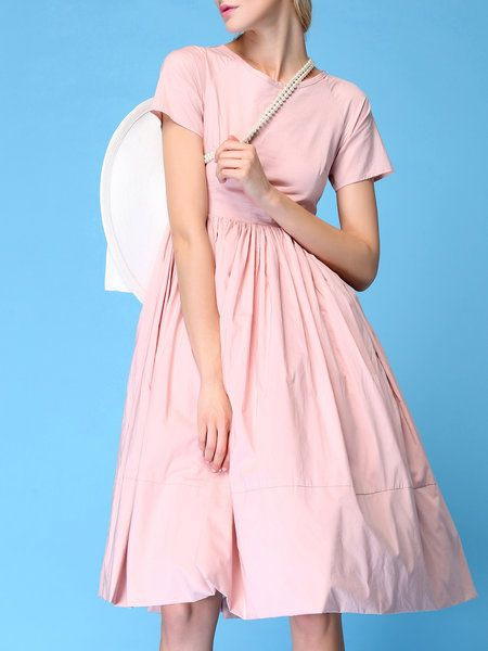 Shop Midi Dresses - Pink Folds Cotton Elegant Midi Dress online. Discover unique…