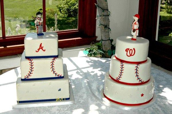 His and Hers baseball themed wedding cakes. Atlanta Braves & Washington Nationals cake designs.  #Virginiaweddings #virginiacustomcakes