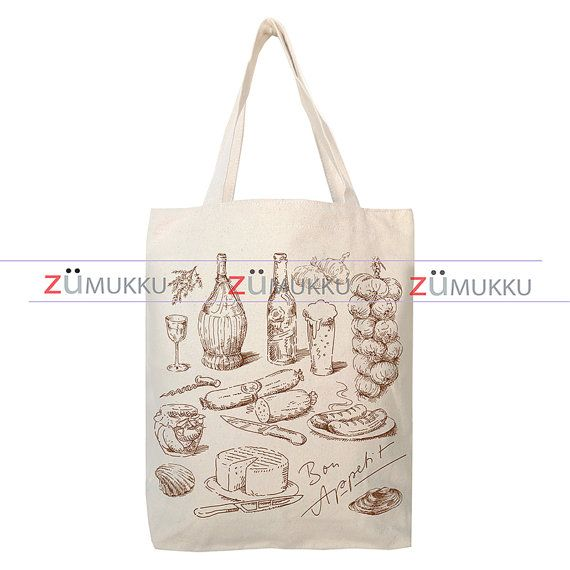French Food Canvas Tote Bag  Organic Cotton Grocery Bag by Zumukku