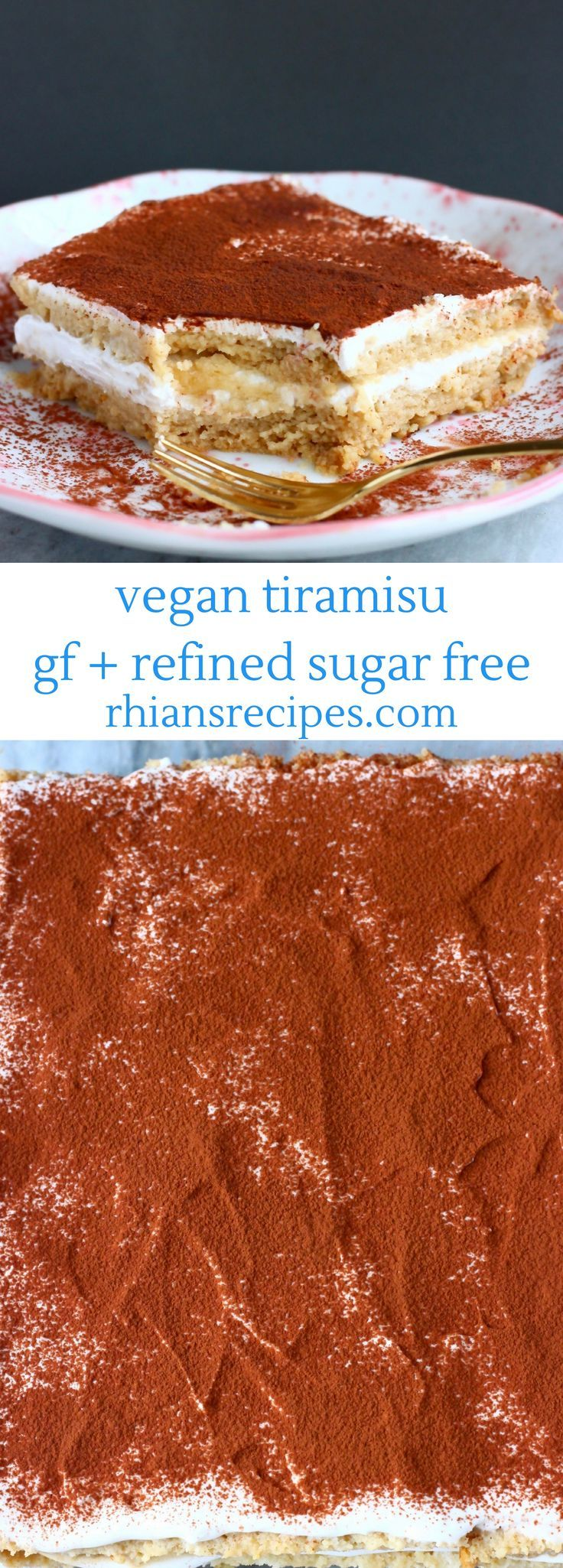 This Gluten-Free Vegan Tiramisu is aromatic, super creamy and much healthier than the traditional version! Refined sugar free. A fluffy egg-free sponge, vegan mascarpone, delicious coffee and a fine dusting of cocoa powder. Makes a perfect dessert for entertaining! #vegan #dairyfree #eggfree #glutenfree #dessert #tiramisu #coffee #ad