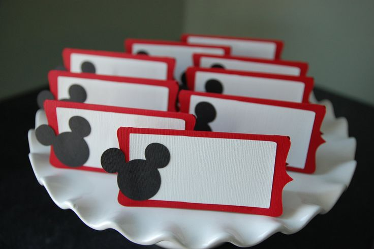 Mickey Mouse Food Labels, Place Cards, Mickey Mouse Party, Mickey Mouse Birthday, Mickey Mouse Theme, Mickey Mouse , 12 Pcs. $12.00, via Etsy.