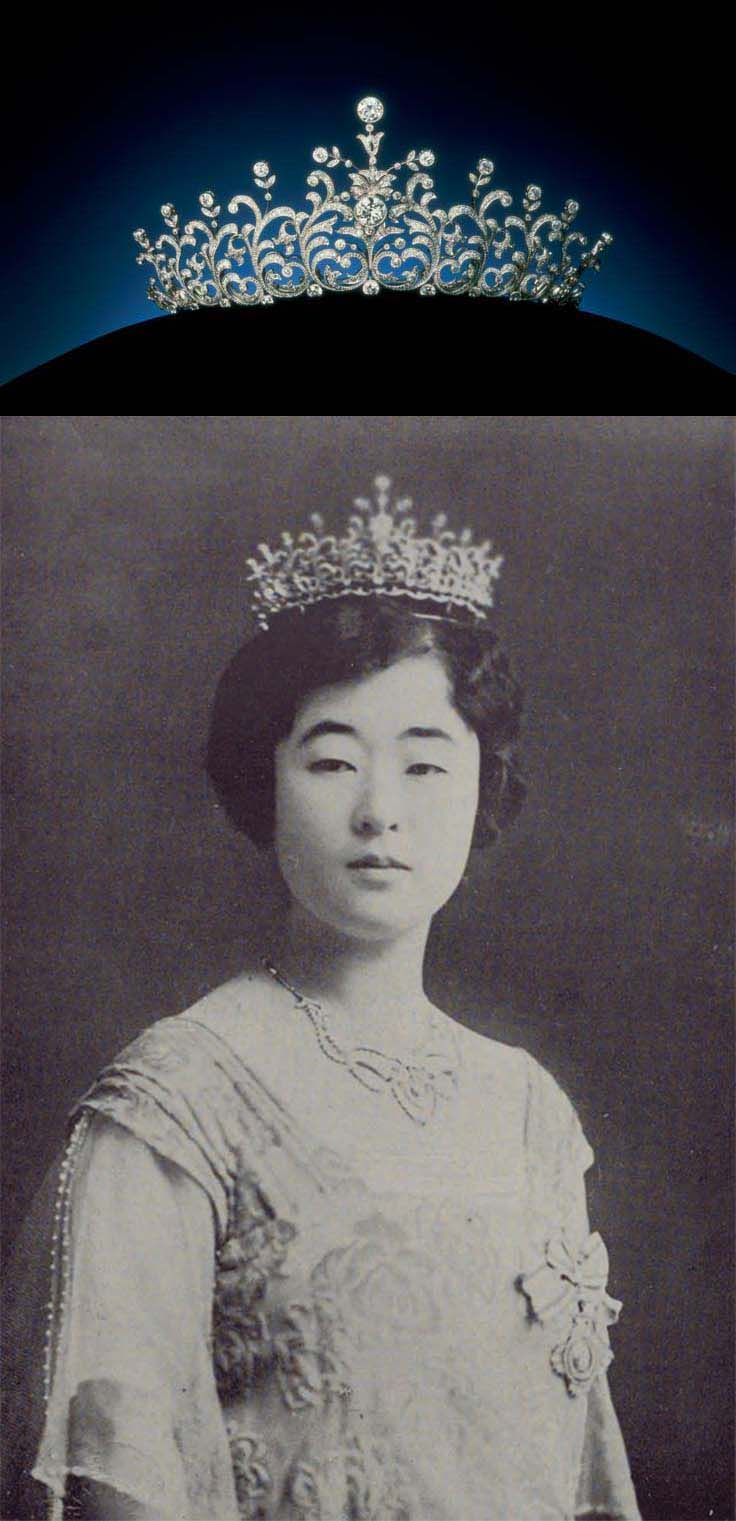 Mikimoto pearl and diamond tiara, ca. 1923-1924, A center 3ct diamond is convertible a ring and a brooch, Crown Princess Uimin of Korea (1901-1989), the consort of Crown Prince Euimin of Korea, cousin of Empress Kōjun of Japan, wearing the tiara. http://en.wikipedia.org/wiki/Yi_Bangja