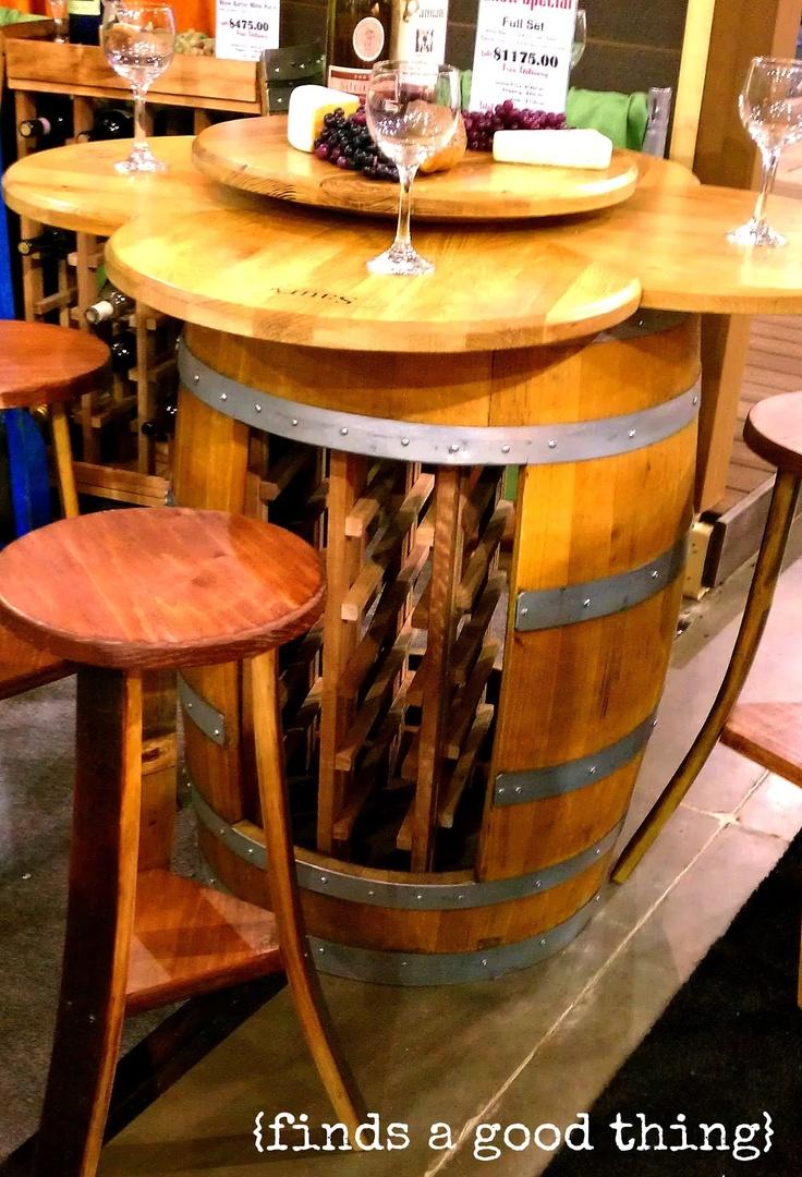 Diy wine barrel table - I Love This Upcycled Wine Barrel Via Www Findsagoodthing Com