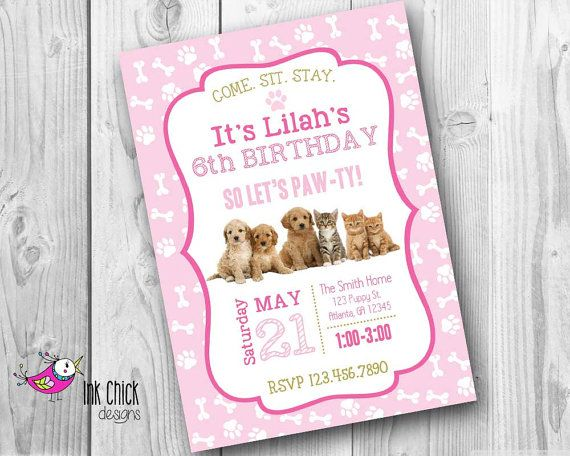 Puppy Invitation Kitten Invitation Puppy and by InkChickDesigns