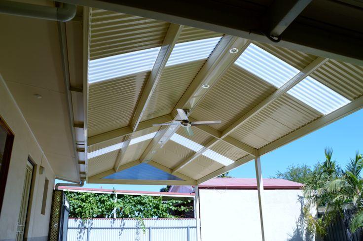 outdoor light and fans on patios, verandahs and pergolas