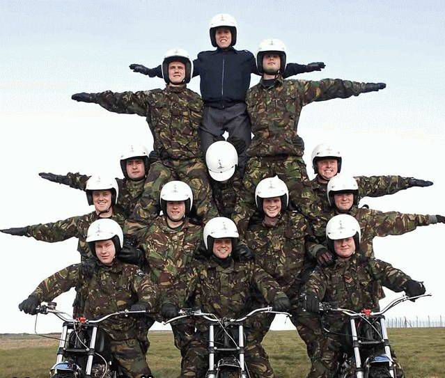 "The ""White Helmets"" motorcycle display team"