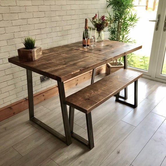 Extending Industrial Dining Table And Bench Package With Trapezium