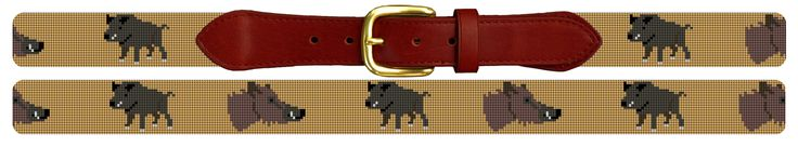 Wild Boar Hunting Needlepoint Belt