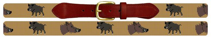 Wild Boar Hunting Needlepoint Belt