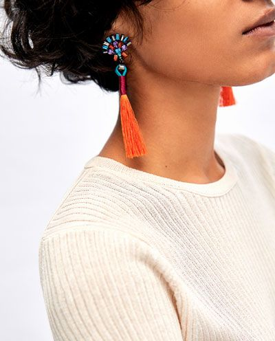 Image 2 of MULTICOLOURED POMPOM EARRINGS from Zara