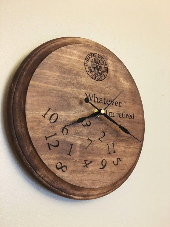 Custom wood burned retirement clock gift army