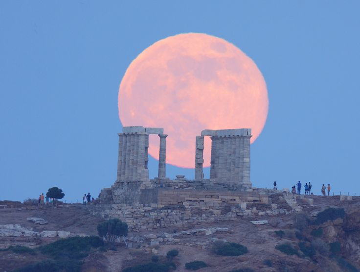 Super Moon Rises over The Temple of Poseidon