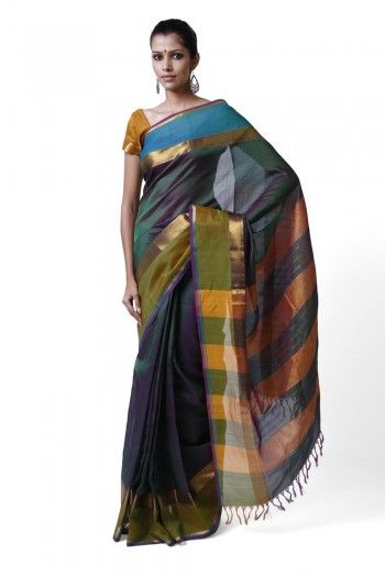 Patterned green Hand woven Silk Cotton saree with striped pallu on http://www.indiainmybag.com/coimbatore-classics.html