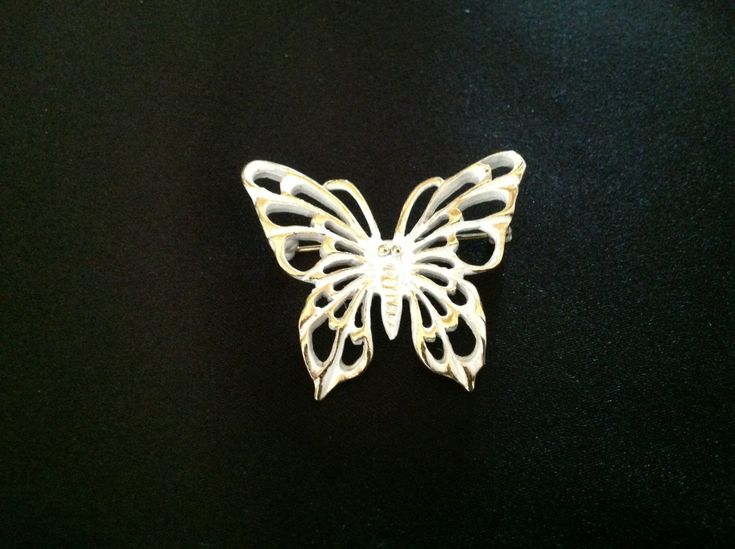 Vintage Napier White Enamel Butterfly Brooch.   (Signed NAPIER with copyright symbol) by VintageVelvetBox on Etsy
