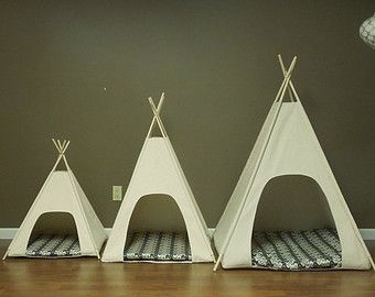 "Large Dog Teepee Pet Tent -36"" base - Natural Canvas- PICK YOUR PILLOW - Ready Made or Custom Order it - Tenthouse Suites by Vintage Kandy"