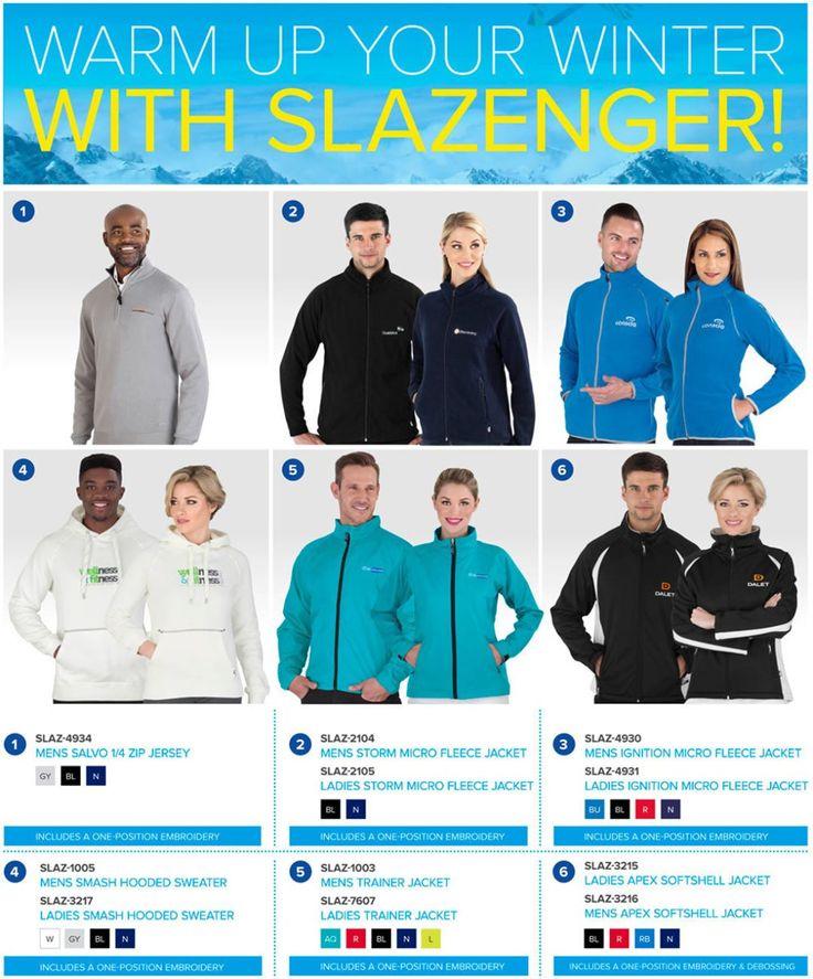 Best Branding for Slazenger Winter Jackets. Best Branding also supplies US Basic Jackets. SLAZ-4934Mens Salvo 1/4 Zip Sweater SLAZ-2104Mens Storm Micro Fleece Jacket SLAZ-2105Ladies Storm Micro Fleece Jacket SLAZ-4930Mens Ignition Micro Fleece Jacket SLAZ-4931Ladies Ignition Micro Fleece Jacket SLAZ-1005Mens Smash Hooded Sweater SLAZ-3217Ladies Smash Hooded Sweater SLAZ-7607Ladies Trainer Jacket SLAZ-1003Mens Trainer Jacket SLAZ-3215Mens Apex Softshell Jacket SLAZ-3216Ladies Apex…