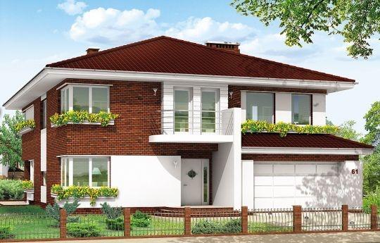 Projekt Gabriela 3 to prestiżowy dom o jednopiętrowej bryle przekryty czterospadowym dachem, przeznaczony dla 4-6cio osobowej rodziny. Architektura domu Gabriela 3 nawiązuje do stylu modernistycznego, we współczesnym ujęciu. Elementy, takie jak narożne okna, balkony z zaokrąglonymi balustradami, łukowy wykusz jadalni, podział elewacji na poziome pasy tworzą ciekawą stylistycznie architekturę zewnętrzną budynku.