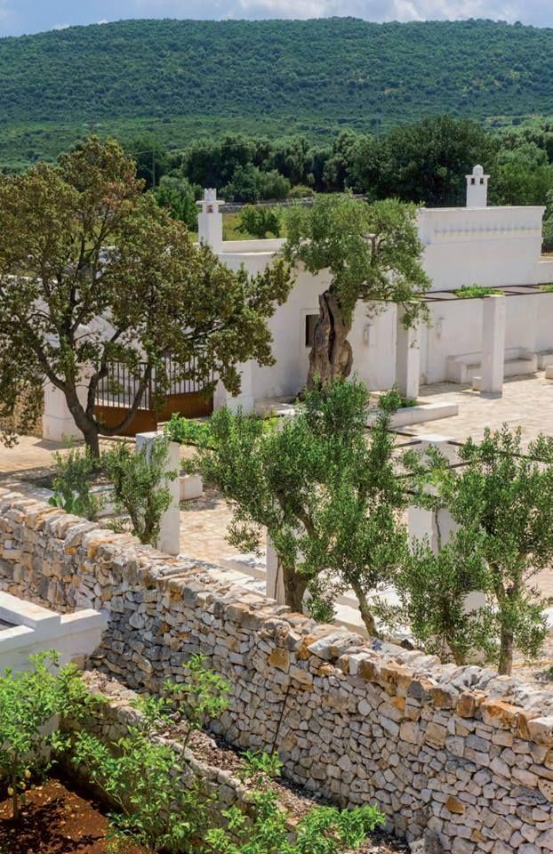 #VillegiardiniAbitare Una masseria dai muri candidi è tornata all'antico splendore dopo un attento restauro, tra i carrubi.