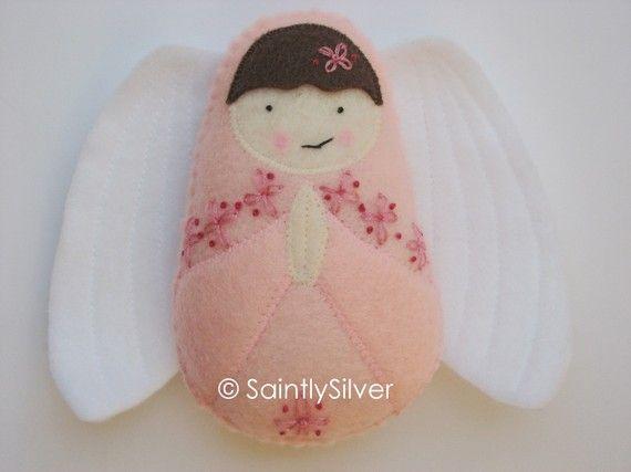 Girl Guardian Angel Felt Softie by SaintlySilver on Etsy