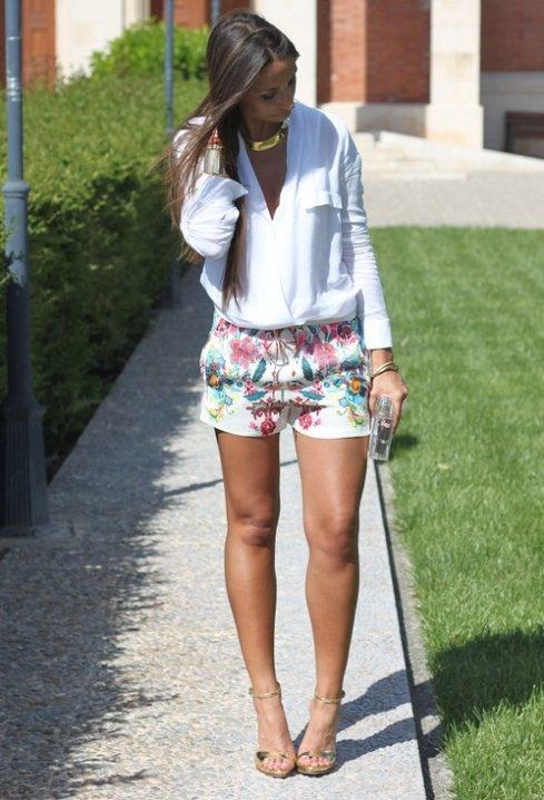 short de zara con blusa blanca
