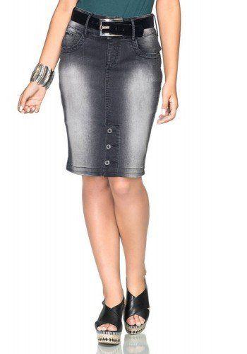 b02997e97a modelo cabelo liso saia jeans preta listra lateral botoes na barra saia