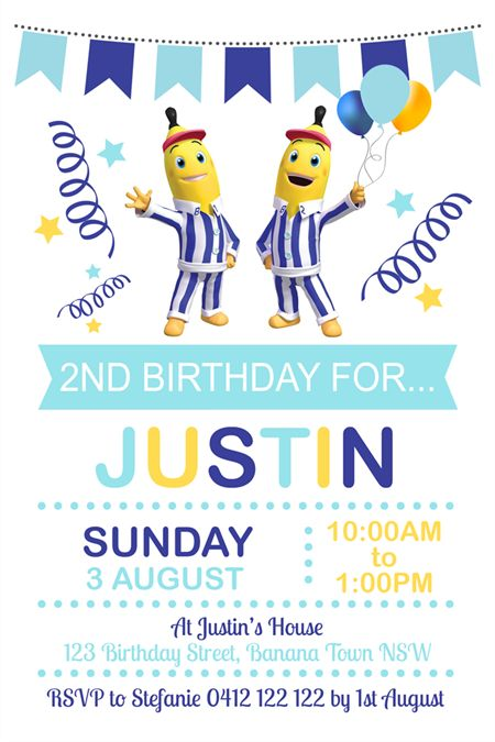 Personalised bananas in pyjamas birthday party invitations invites
