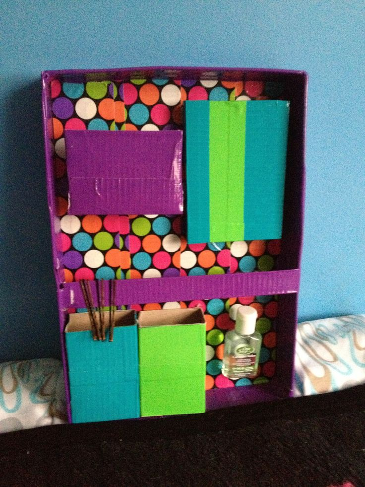 Back To School Locker Organizer Use Duct Tape A Shoe Box