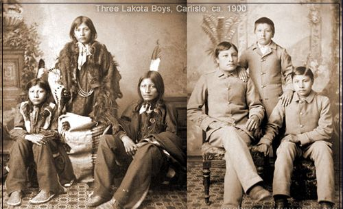 Photo of Lakota boys at Carlisle, before and after forced assimilation
