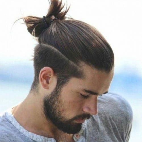 Long Hair On Top With Short Sides Man Bun Top Knot Male Ponytail Short Tap Long Hairstyles Curly Hair Men Long Hair On Top Long Hair Short Sides