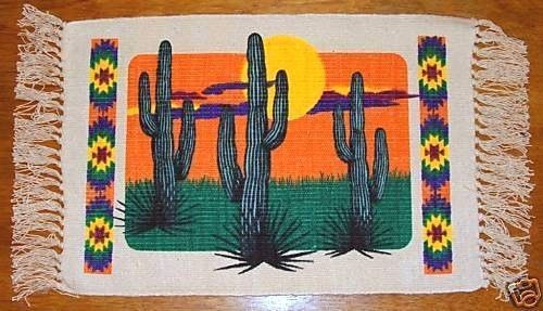 "What is more iconic to the southwest than the magnificent saguaro cactus?  Set of 6 woven canvas mats with this beautiful print on them for $29.95 13x19"" + fringed ends. #saguaro #cactus #southwestern #placemats"