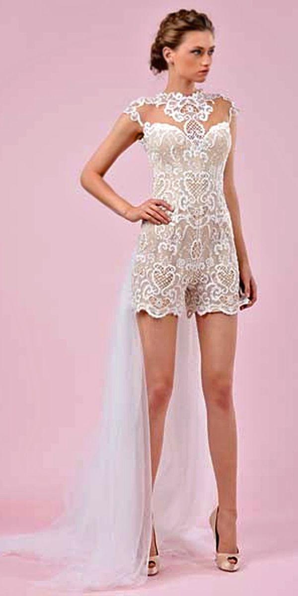 wedding pantsuit via gemy maalouf / http://www.deerpearlflowers.com/wedding-pantsuits-and-jumpsuits-for-brides/