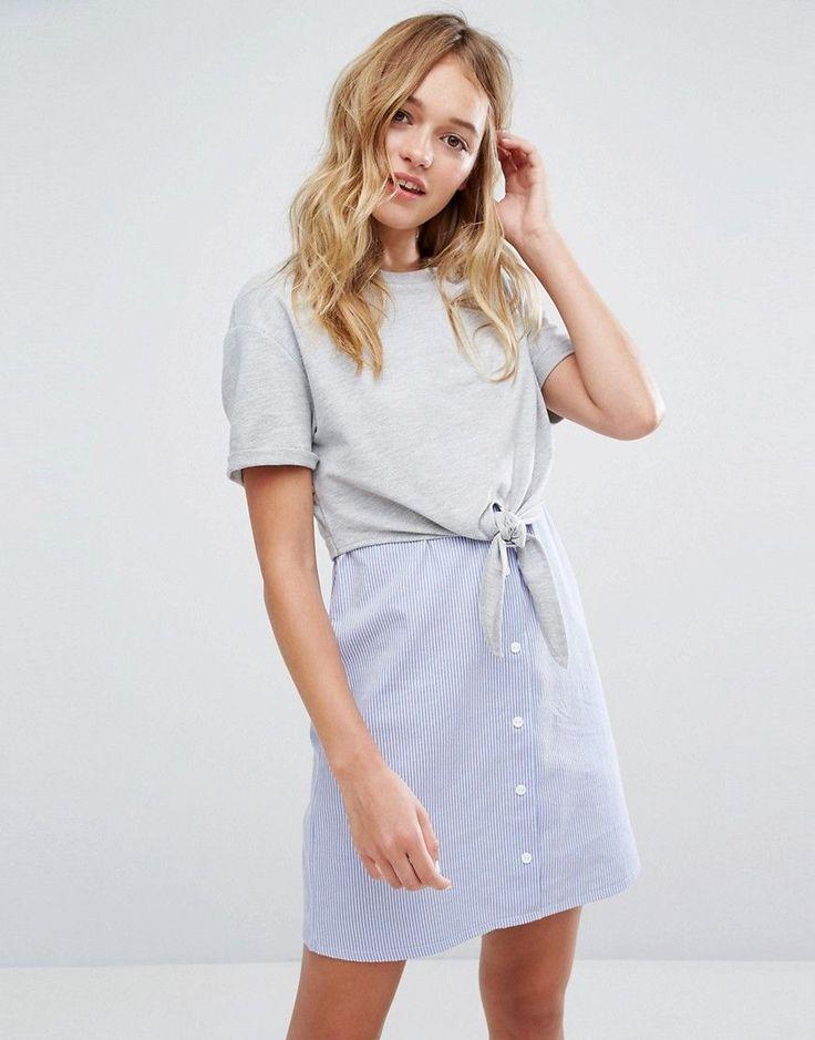 Bershka Jersey Top And Stripe Dress - Multi