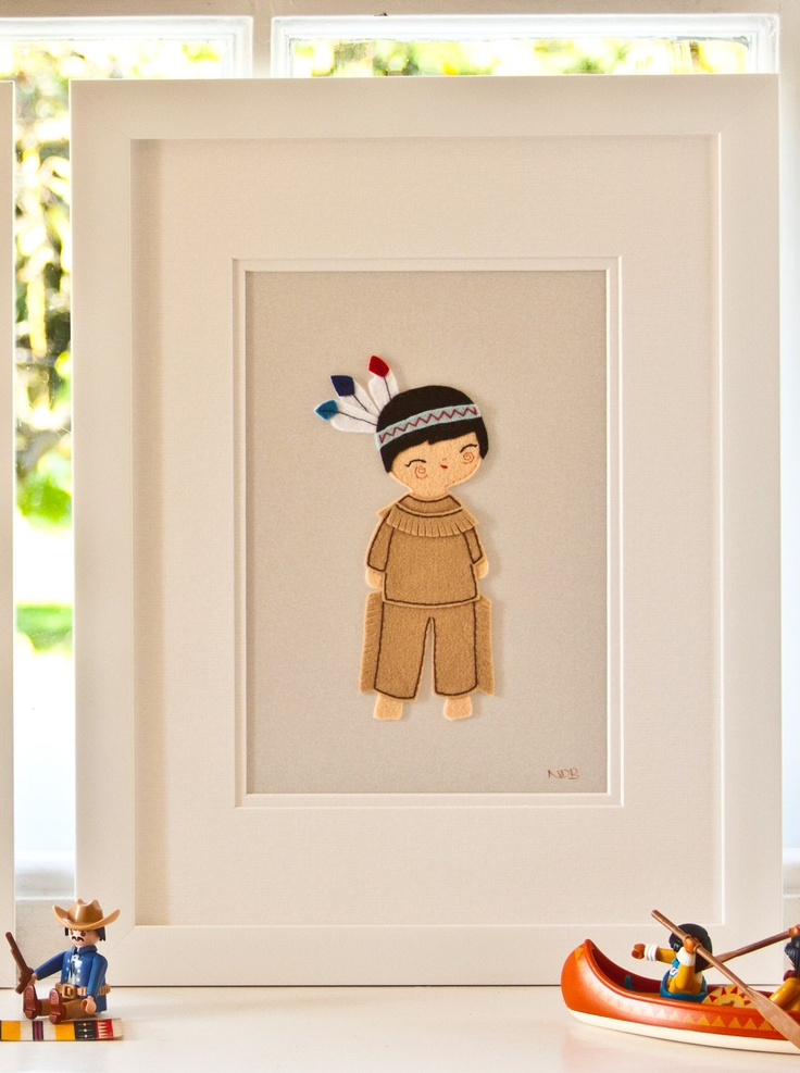 Cowboys and Indians, Nursery Wall Art, Childrens Pictures, Nursery Decor, Christening Gift, Framed Felt Embroidered American Indian Picture. £48.00, via Etsy.